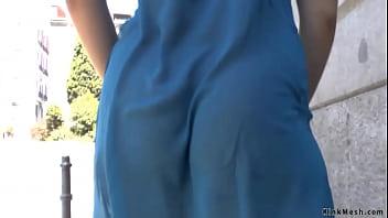 Babe in sheer dress on public d.