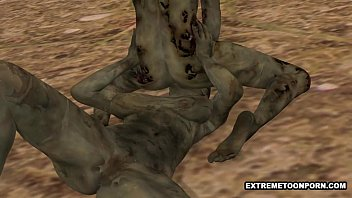 Two 3D Cartoon Zombie Lesbian Babes Fooling Around