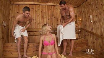 Beautiful Russian Cutie Karina Grand Double Penetrated In Sauna