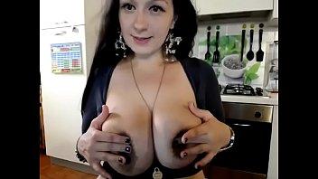 Huge tits amateur milf squeezing breast milk
