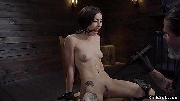 Gagged small tits slut in device bondage