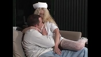 Hot ass blonde nurse blows a hot cock and balls and gets fucked on sofa