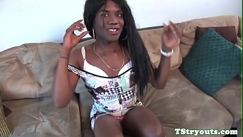 Ebony TS amateur jerking off during casting