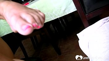 Incredible stepmom displays her pussy and feet