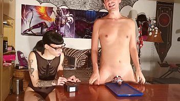 Sexy goth domina 1. time try electric milking with slave boy Pt1 HD