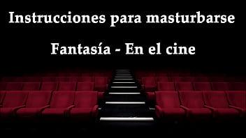 JOI - Masturbating at the movies, fantasy in Spanish.