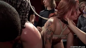 Bound slaves take bbc in public party