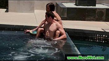 Nuru Massage Wet Handjob and Brutal Blowjob Sex 15