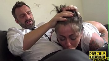 Tattooed fetish submissive deep throats