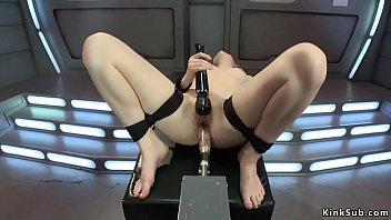 Blonde In Rope Bondage Fucks Machines