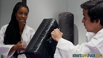 Ebony Rides Short Guy Cock During Karate Class