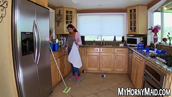Big breasted maid spreads legs for hard anal drilling