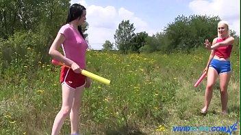 Kiara Gold and Lovitta Fate lesbian action in nature 6 min