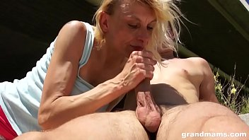 Foto old mam fucking - Skinny old blonde bitch fucked outdoor by young stud on grandmams.com