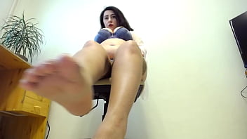 Sexy milf demonstrate sexy long legs in tan stokinghs and butt plug in huge ass!