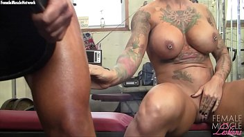 Up close nude women Two big tit muscle girls play with each other in the gym