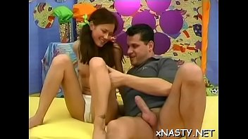 Meat bazooka stuffed in cheerful babe Sally's mouth and cooter