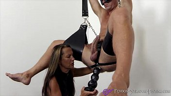 Femdom fucks slave with dildos and plugs from Mistress Angelina