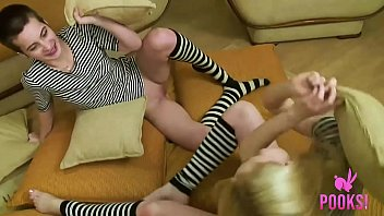 Pale Pussy Holli Paige Shares Dick With Short Haired GF!