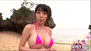 Busty Asian girl went to the beach with her new boyfriend wh