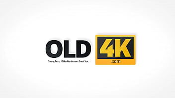 OLD4K. After drinking tea girl and her old husband have sex on the sofa