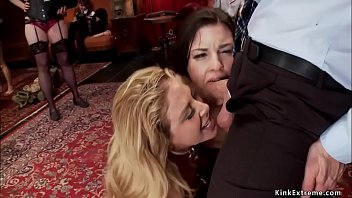 Blonde teaches brunette bdsm service