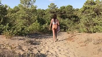 Naked Girl Enjoys Her Walk Outside