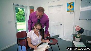 Teacher helps schoolgirl with her exam and his cock