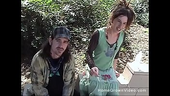 Homeless hippie couple fucking for cash in public