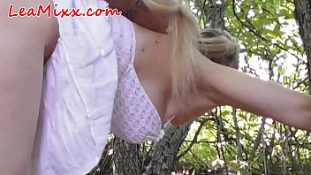 Horny girl caught in forest and forced
