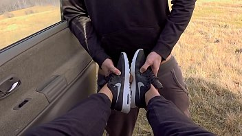 Outdoor Messy Deepthroat in Nike airmax and come on sneakers with Kate Truu 13 min