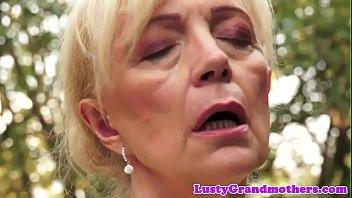 Hairy european granny pussyfucked outdoors