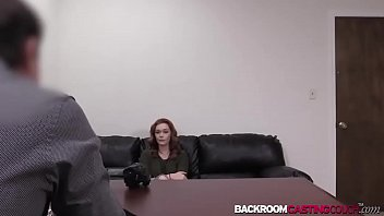 Redhead Rowan bent for doggystyle and creampie in casting 12 min