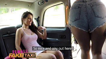 Female Fake Taxi lesbian pussy eating session in cab 11 min