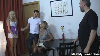 Czech blonde involved into family threesome 6 min