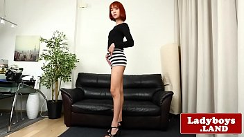 Redhead ladyboy  pulling her big cock solo g cock solo