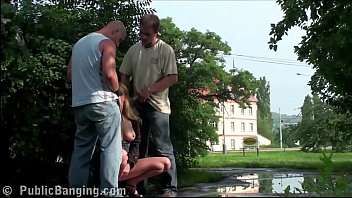 Cum on the face of a pretty girl in public street sex threesome