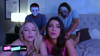 Two Horny Stepbrothers Put On Masks To Trick Their Cute Assed Stepsisters And Lick Them From Behind