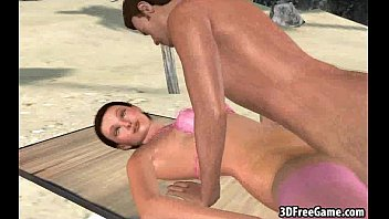 Sexy 3D babe getting double teamed on the beach