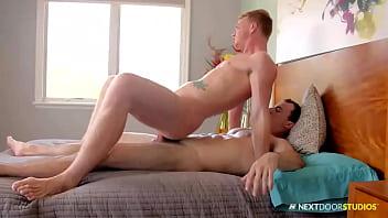Caucasian Alex James giving head for big penis
