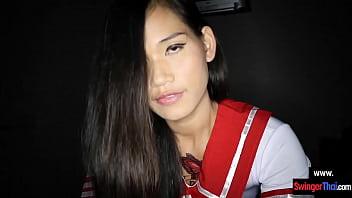 Asian schoolgirl amateur teen cutie fucked in a sex chair
