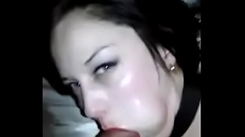 Collared Leashed Handcuffed Amateur Bitch Hairpulling Deepthroat with Lipstick