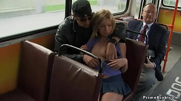 Blonde gets facial in public bus