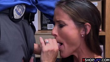 Hot slender MILF didnt want to cooperate with security