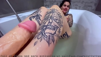 Footjob With A Huge Dildo. Lots Of Cum On My Feet