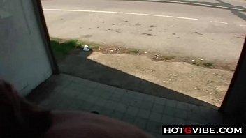 PUBLIC Bus Stop Slut Fucks 2 Guys