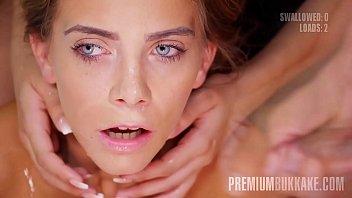 Premium Bukkake - Camille Oceana Swallows 55 Huge Mouthful Cum Loads