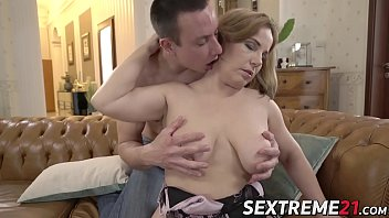 Old busty Mimi Jean seduces young guy into romantic affair 6 min