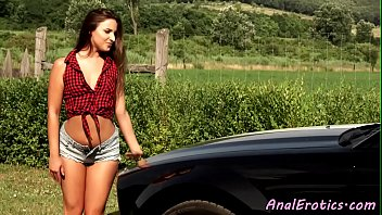 Teen analfucked outdoors before cuminmouth
