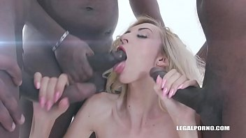 Anita Blanche comes to enjoy black feeling and takes two cocks in the ass IV348